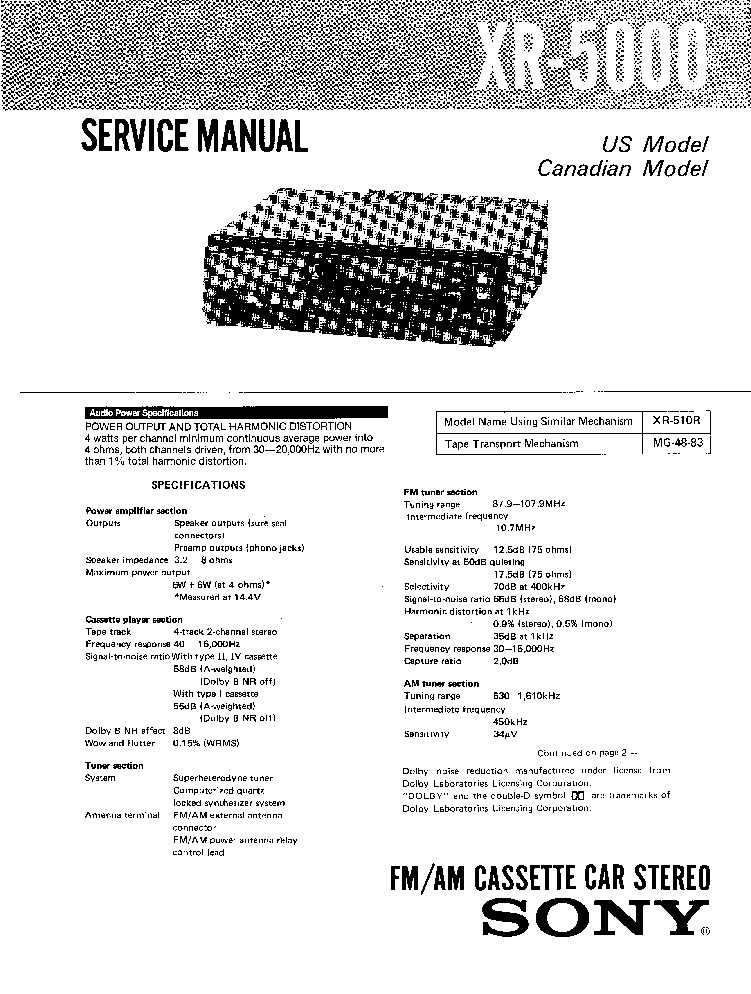 SONY CDX-R3707X SM Service Manual free download