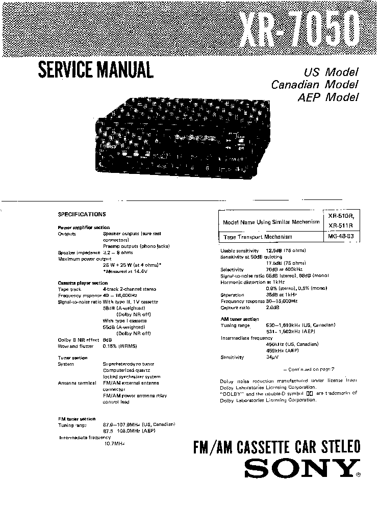 SONY CFS-E14S Service Manual free download, schematics