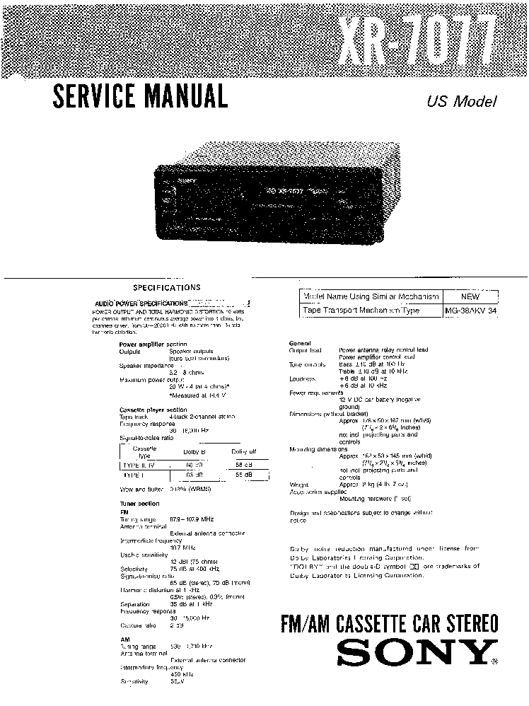 SONY XM-754HX Service Manual free download, schematics