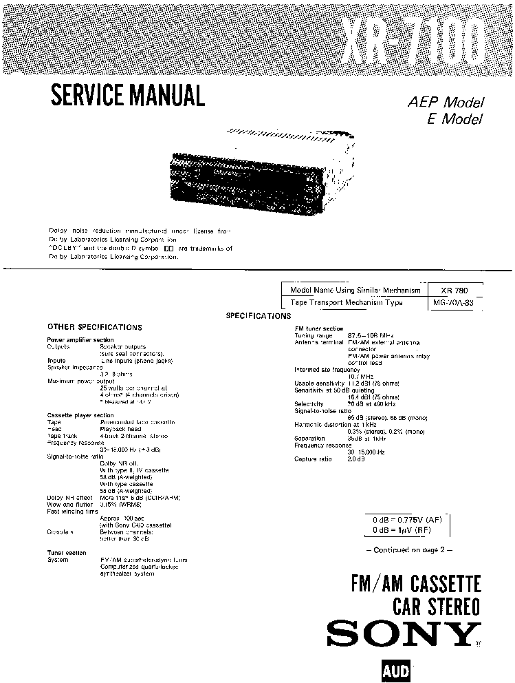 SONY EXR-105 XR-3740 Service Manual download, schematics