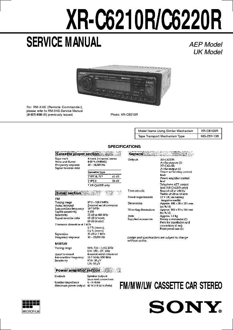 SONY XR-C6210R C6220R SM 2 Service Manual download