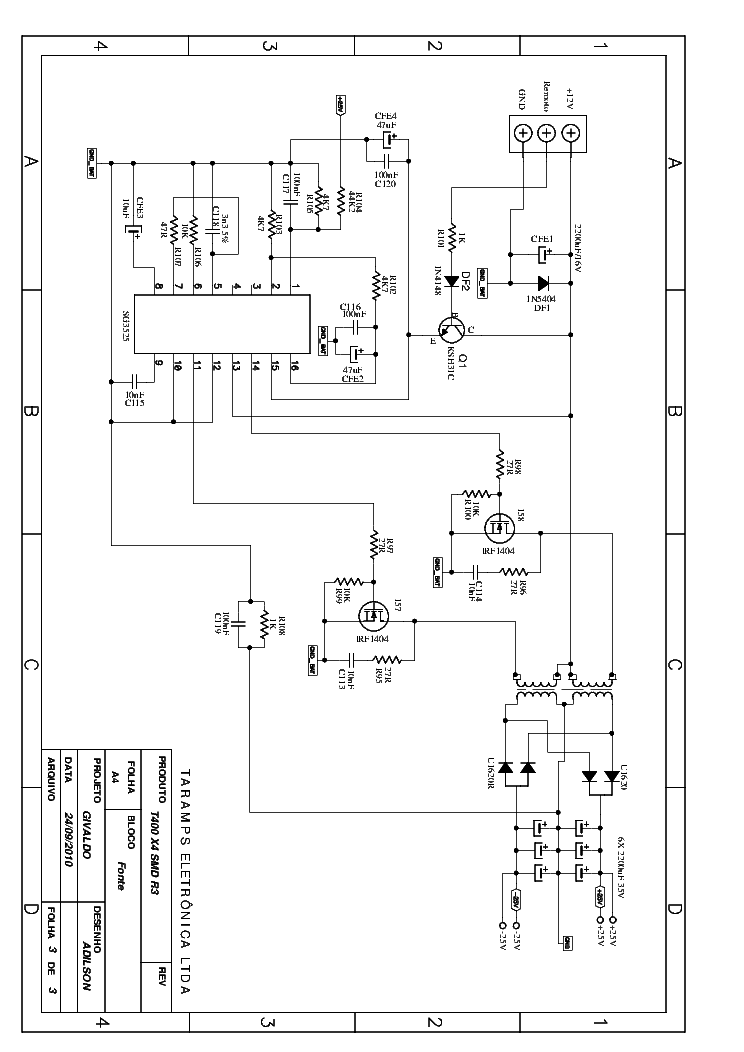 TARAMPS T-400D SCH Service Manual download, schematics