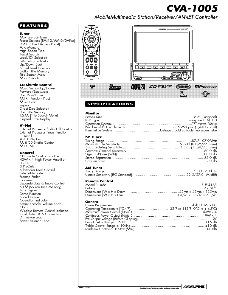 ALPINE CVA-1005 WIRING DIAGRAM Service Manual download