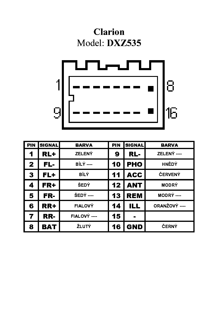 CLARION DXZ535 PINOUT CONNECTOR Service Manual download