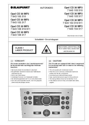 BLAUPUNKT CD30 MP3 OPEL Service Manual download, schematics, eeprom, repair info for electronics