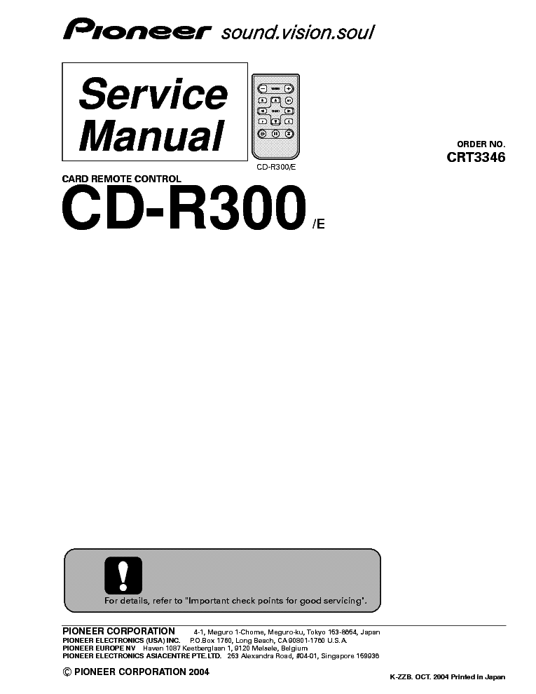 PIONEER CD-R300 CRT3346 AUDIO CAR Service Manual download