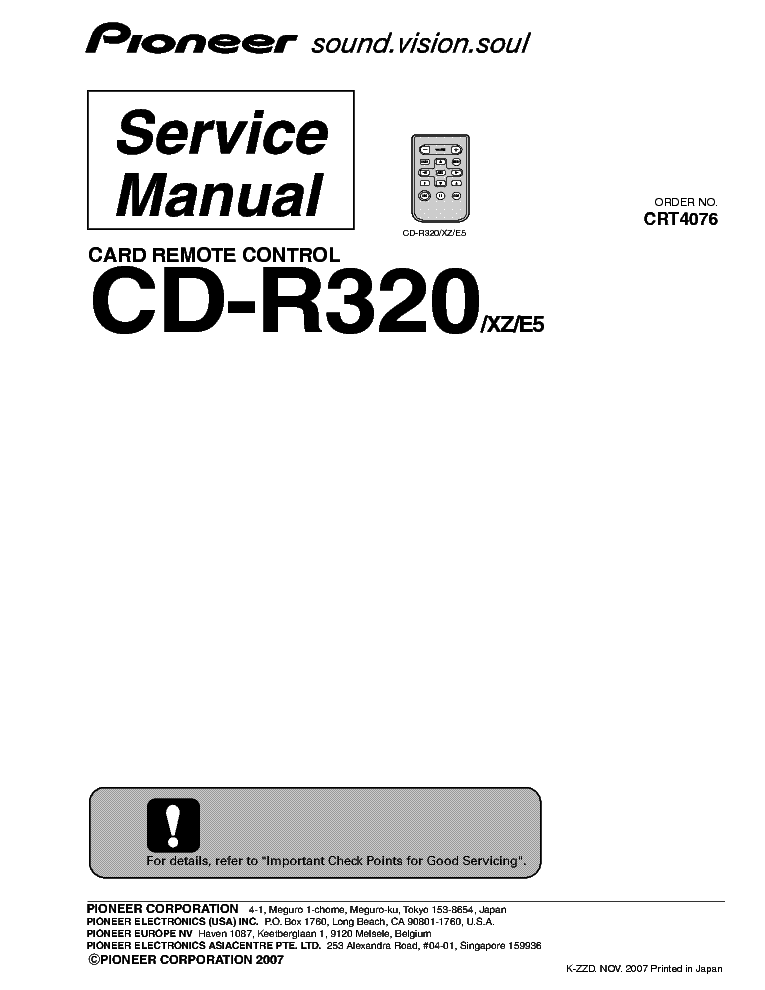 PIONEER CD-R320 CRT4076 AUDIO CAR Service Manual download