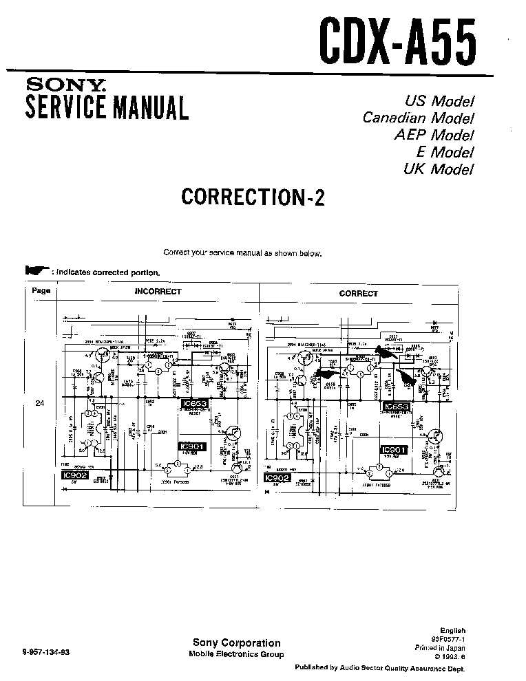 SONY CDX-A55 CORRECTION-2 Service Manual download