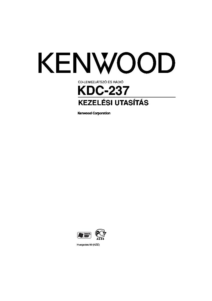 KENWOOD KDC-237 HASZNALATI UTMUTATO Service Manual