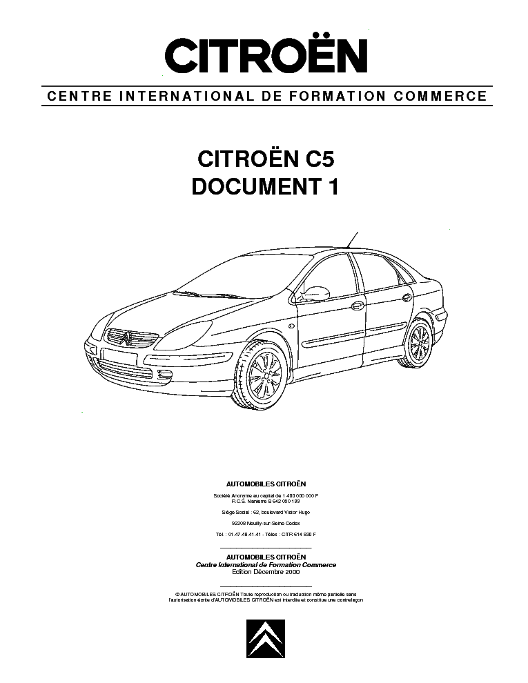 CITROEN C5 DOCUMENT 1 Service Manual download, schematics
