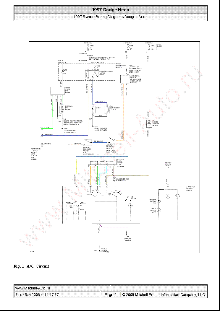 DODGE NEON 1997 WIRING DIAGRAMS SCH Service Manual