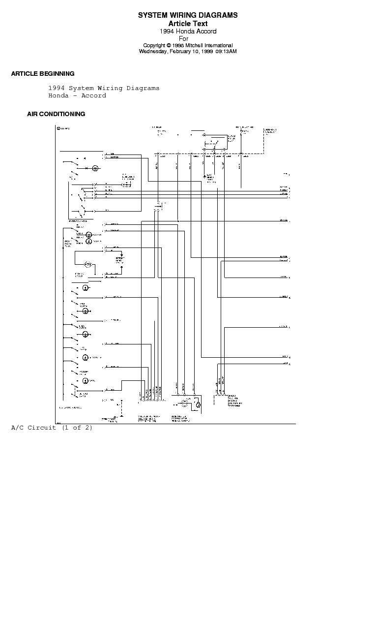 1994 Honda Accord Wiring Diagram Download : 41 Wiring