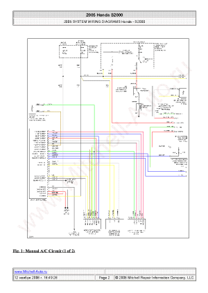 HONDA S2000 2005 WIRING DIAGRAMS SCH Service Manual