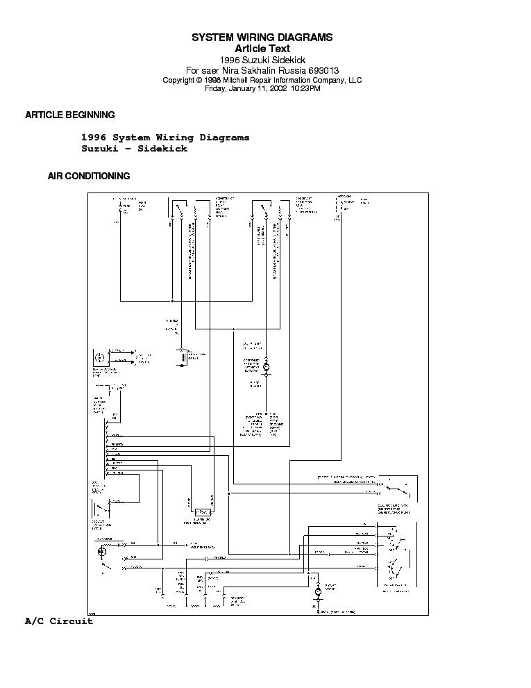 1994 Suzuki Sidekick Electrical Diagrams