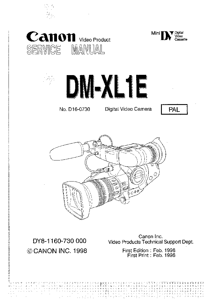 CANON DM-XL1E Service Manual download, schematics, eeprom