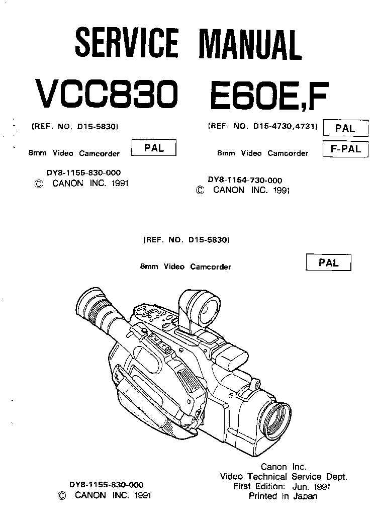 CANON DM-XL1E Service Manual free download, schematics