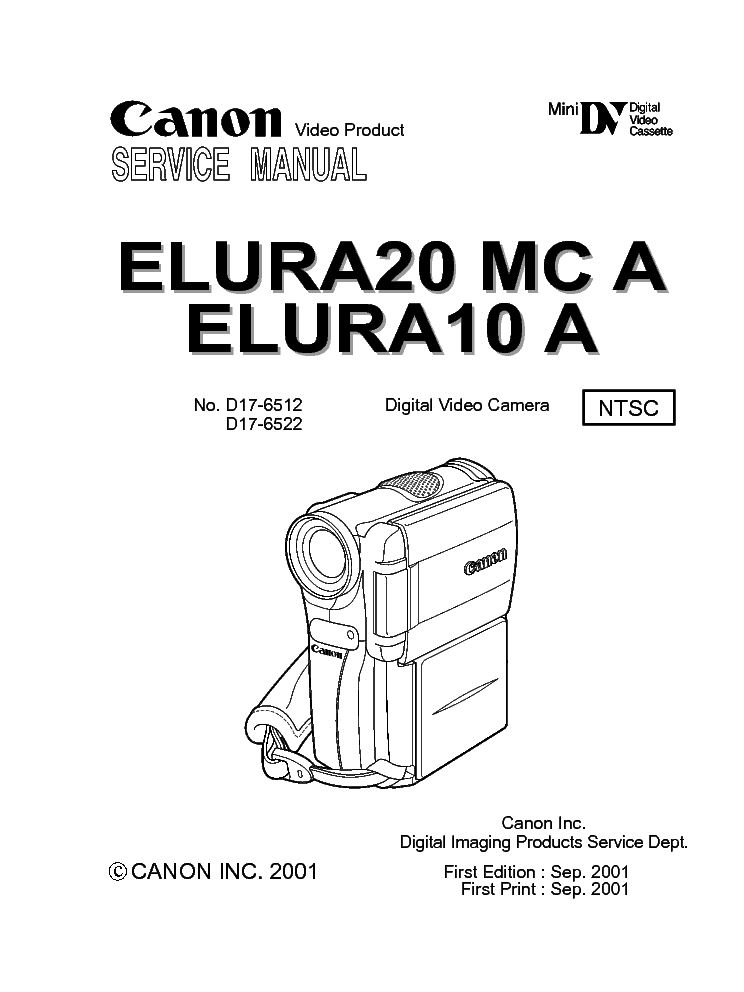 CANON ELURA 10 A/ELURA 20 MC A SERVICE & REPAIR MANUAL