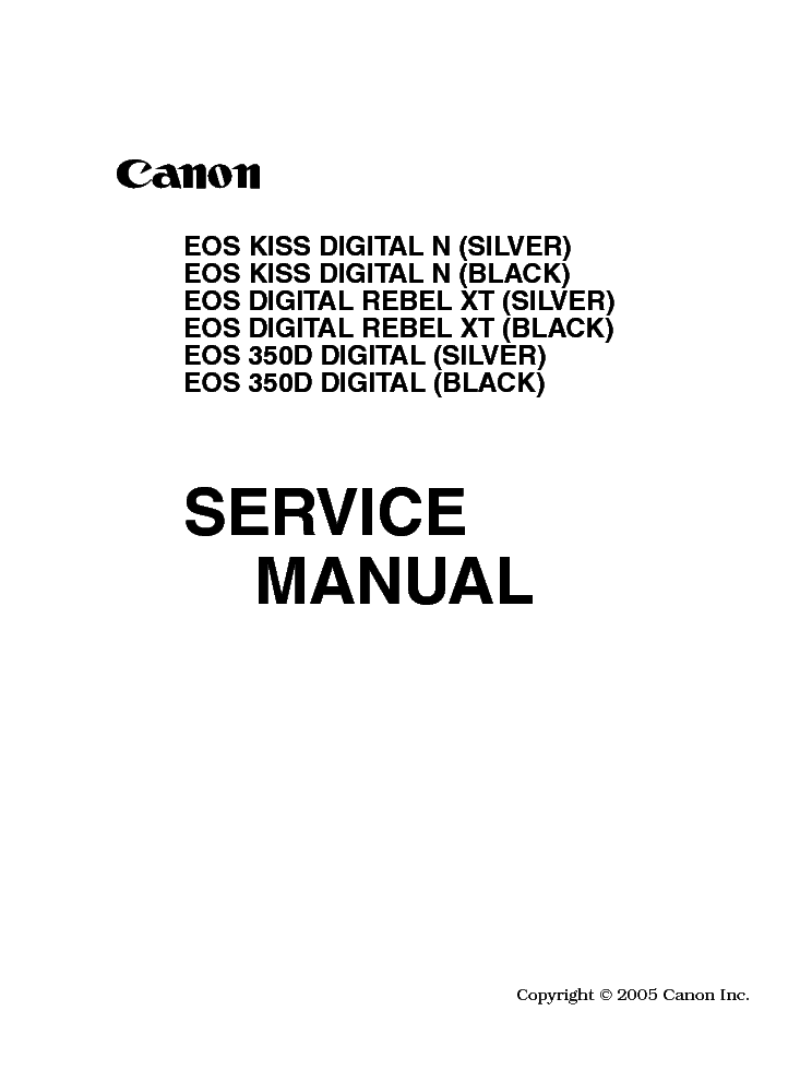 CANON EOS-350D Service Manual download, schematics, eeprom