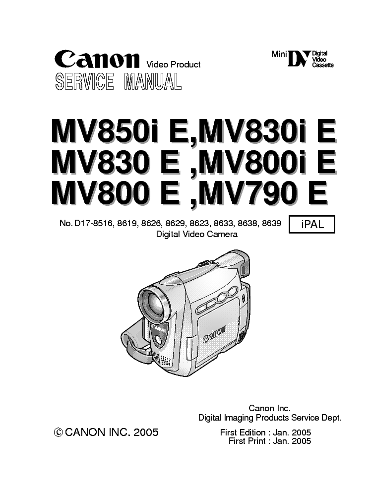 CANON MV 790/800 MV 830/850 SERVICE & REPAIR MANUAL
