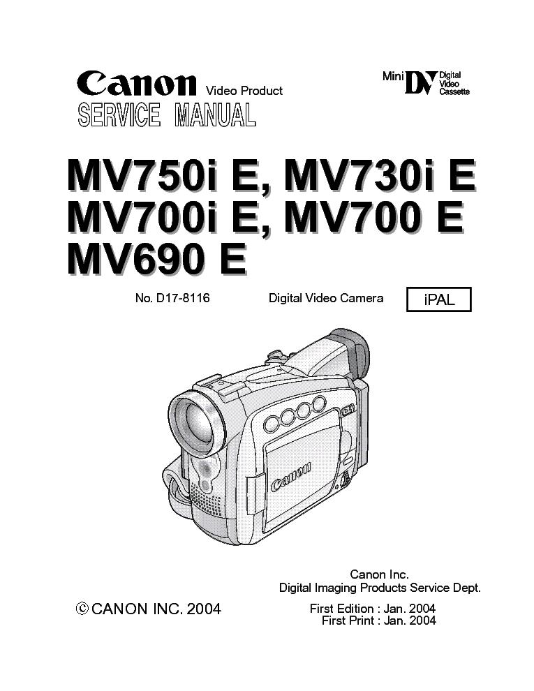 CANON MV-790 800 830 850 Service Manual download