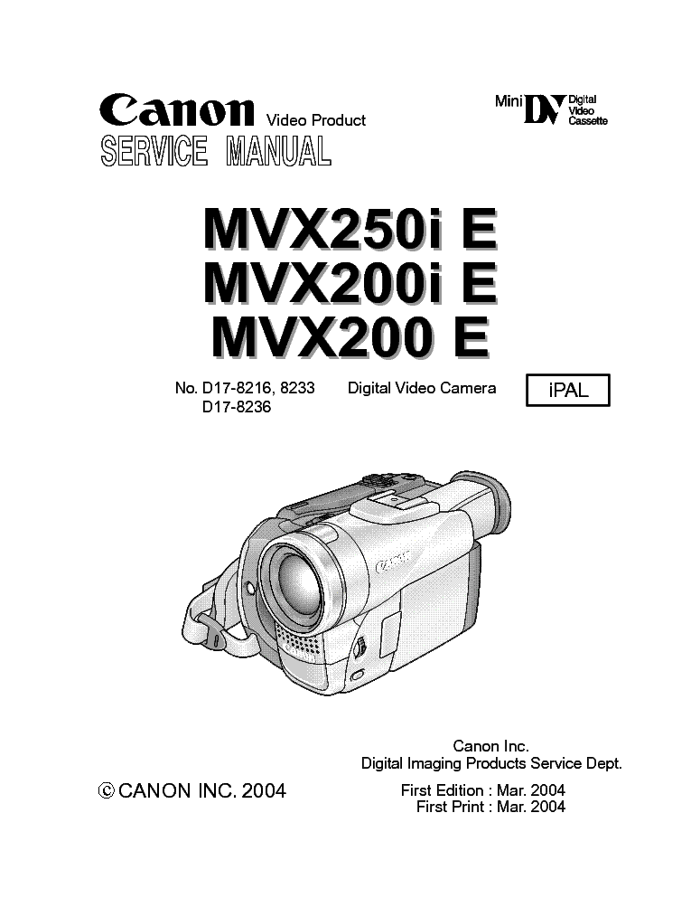 CANON MVX250I MVX200I E SM Service Manual download