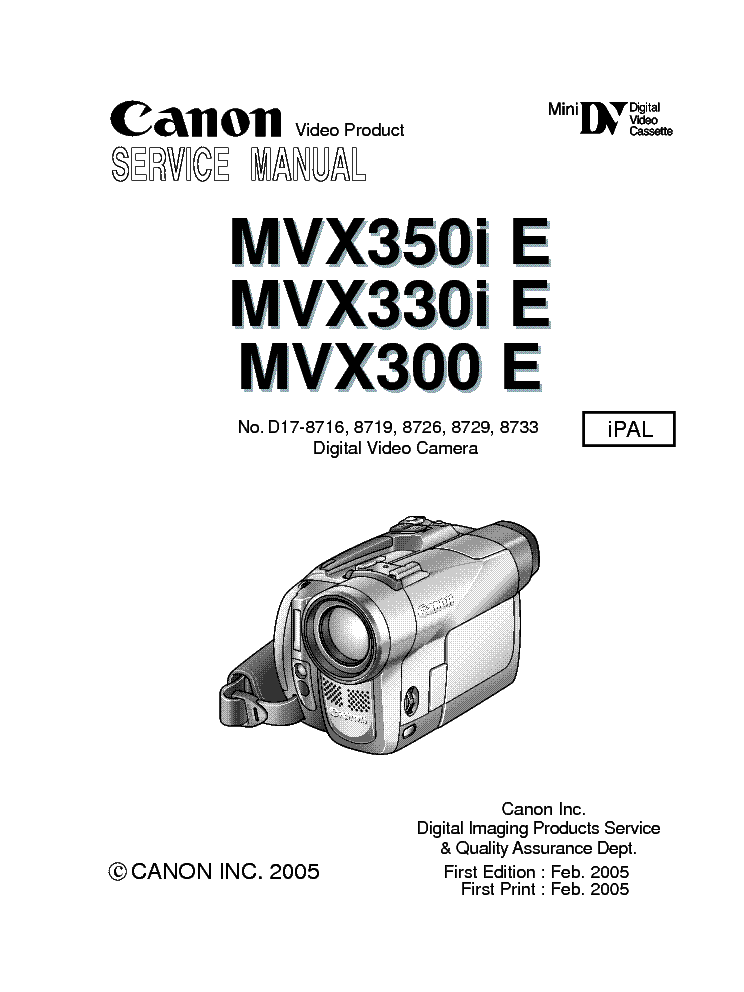 CANON MVX350I MANUAL PDF