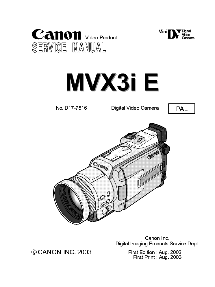 CANON MVX3I E Service Manual download, schematics, eeprom