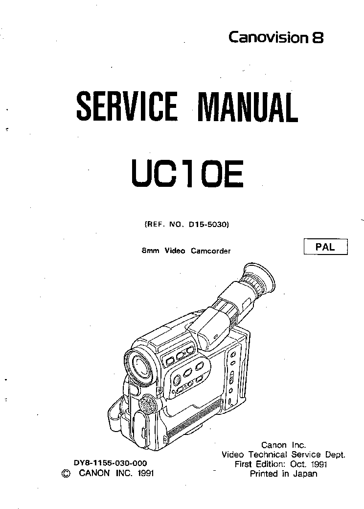 CANON UC10E SM Service Manual download, schematics, eeprom