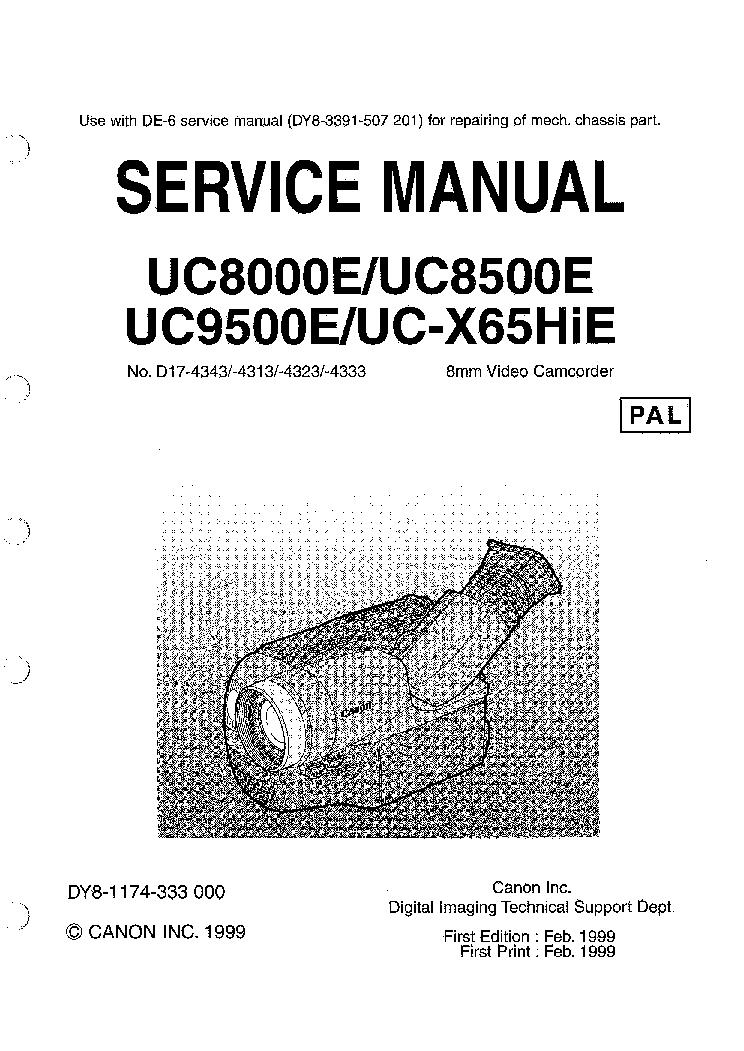 CANON UC8000E UC8500E UC9500E UC-X65HIE SM Service Manual