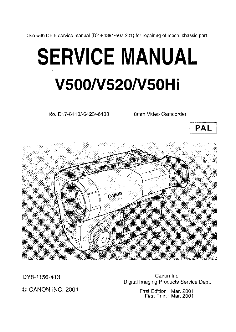 CANON DM-MV300 MV300I MV310SM Service Manual free download