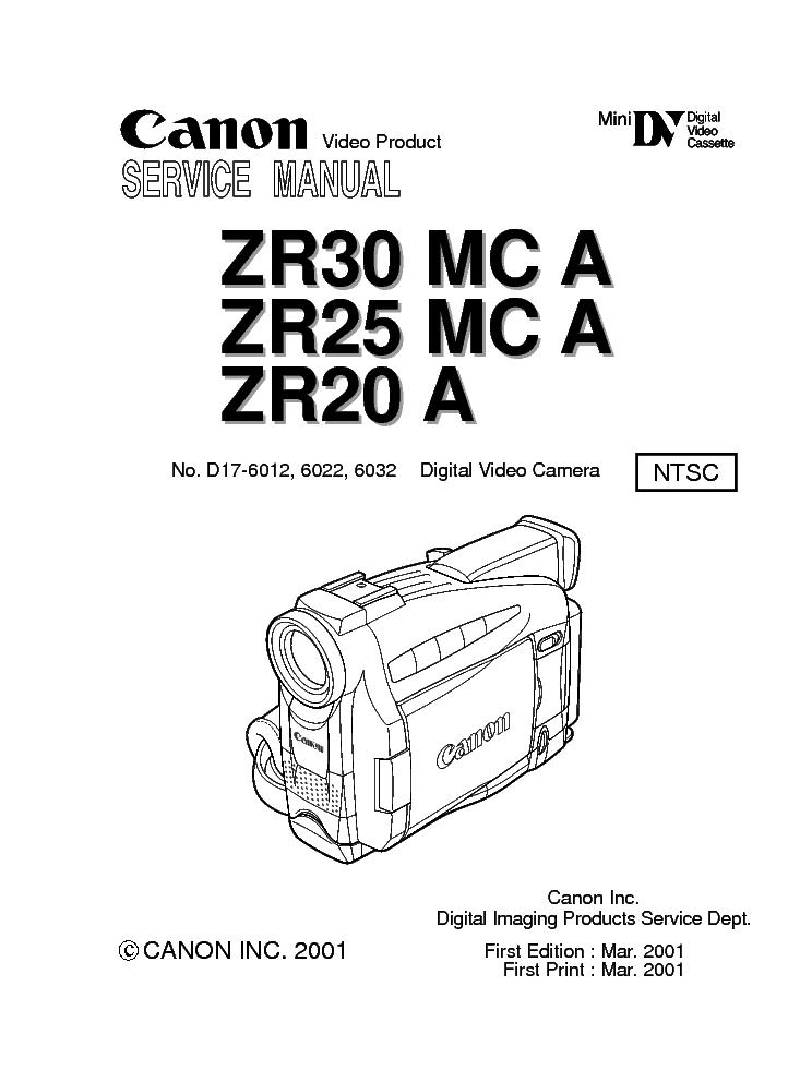 CANON ZR30-MC-A ZR25-MC-A ZR20-A SM Service Manual