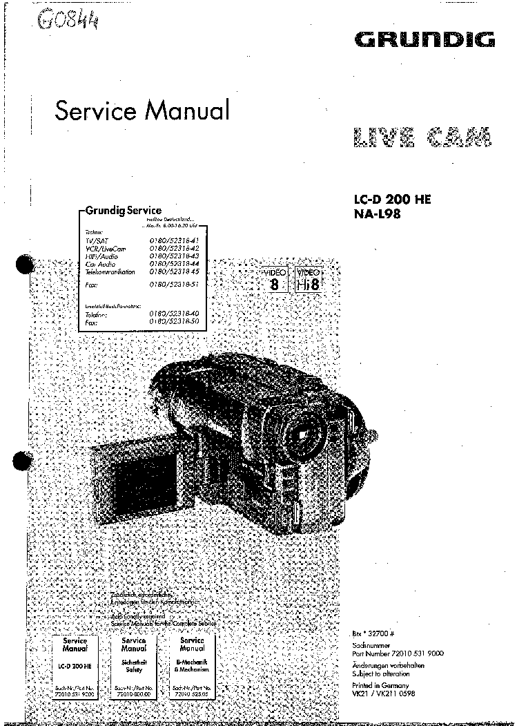 GRUNDIG LIVE-CAM LC-D200HE NA-L98 Service Manual download