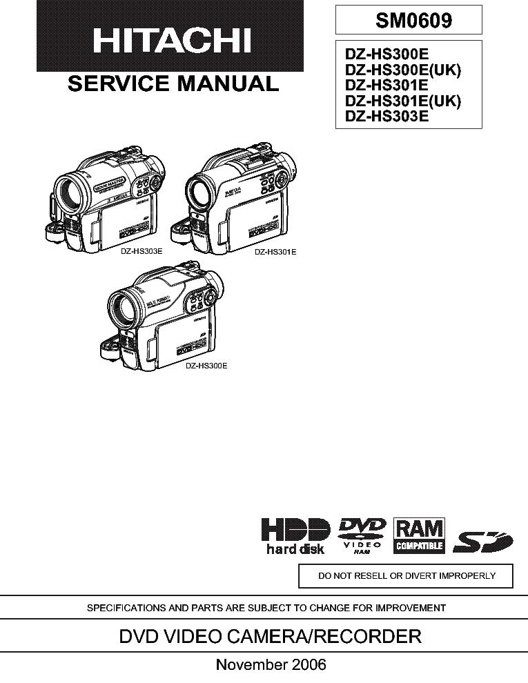 HITACHI DZ-HS 300 301 303-E Service Manual download