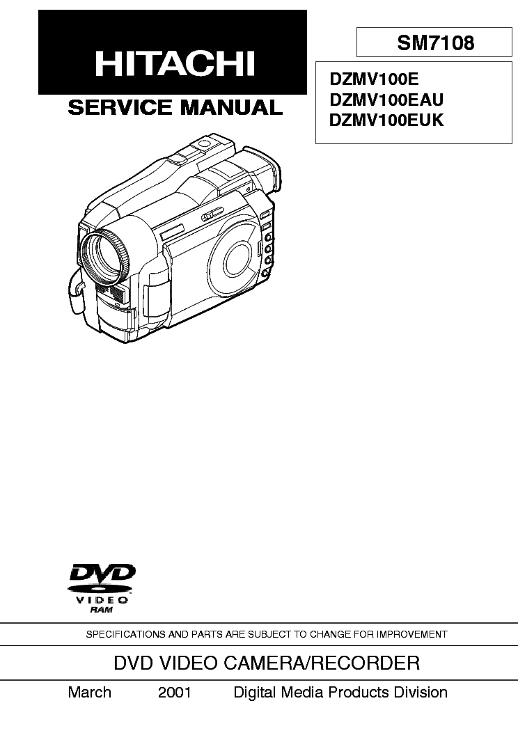 HITACHI DZ MV 100 E EAU EUK Service Manual download