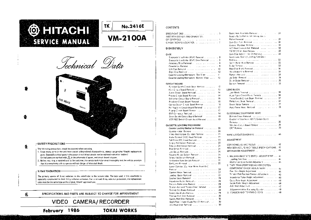 HITACHI VM-2500A Service Manual download, schematics