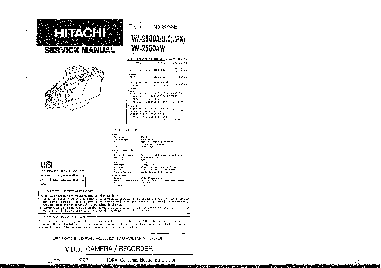 HITACHI VM-2500A-AW SM Service Manual download, schematics