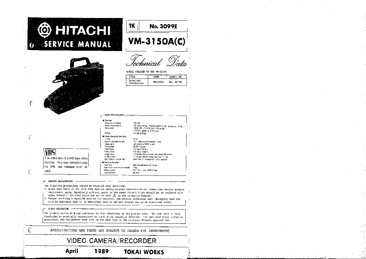 HITACHI VM-3150A-C TECHNICAL-DATA SM Service Manual