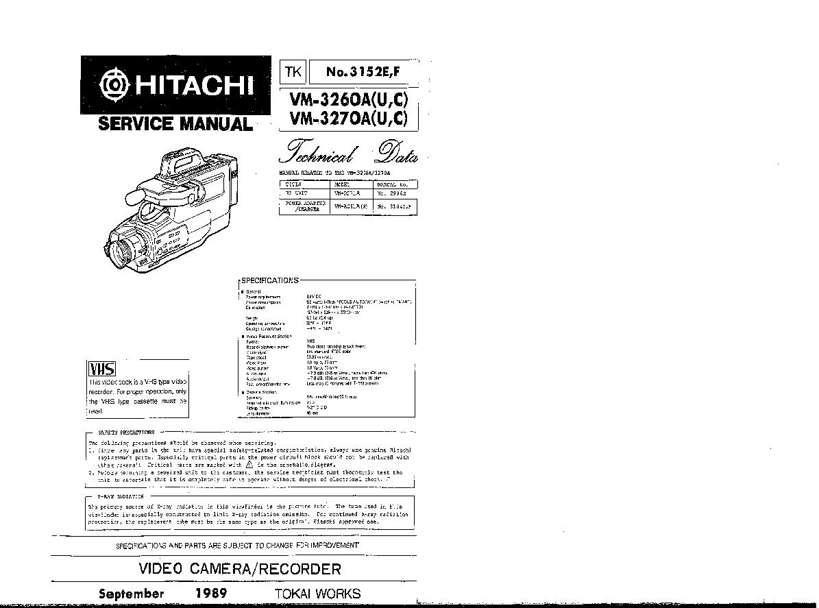 HITACHI VM-3260A 3270A U-C TECHNICAL-DATA SM Service
