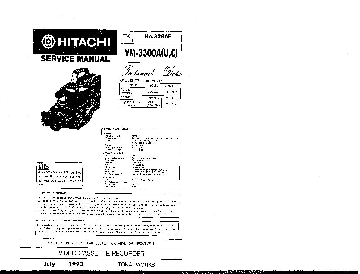 HITACHI VM-3300A-U-C SM TECHNICAL-DATA Service Manual