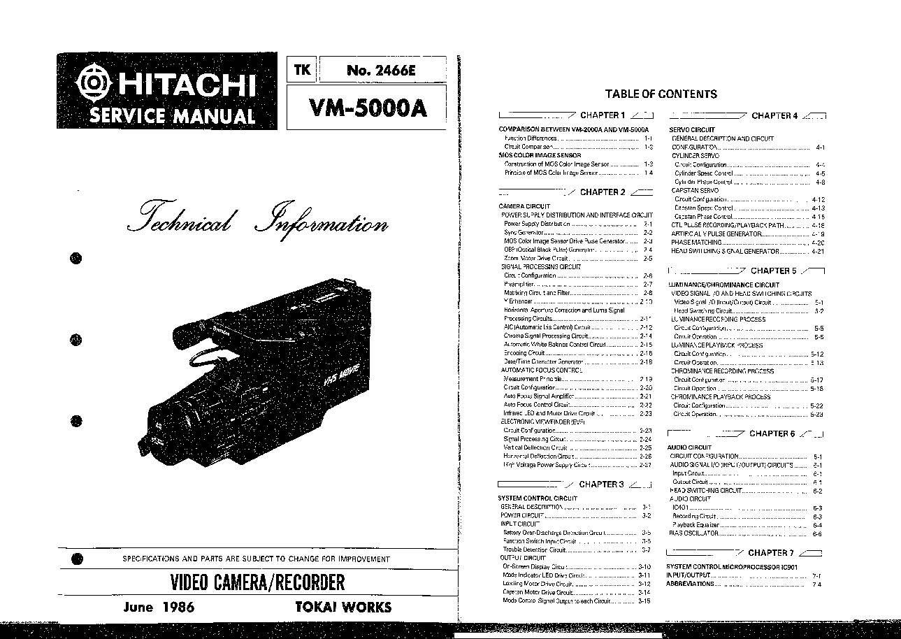 HITACHI VM-5000A Service Manual free download, schematics