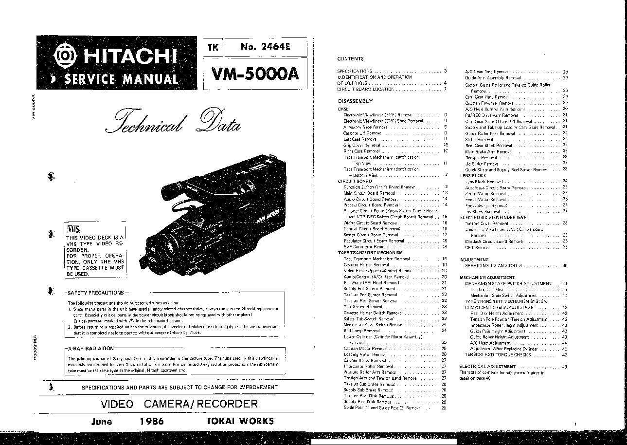 HITACHI VM-5000A SM TECHNICAL-DATA Service Manual download