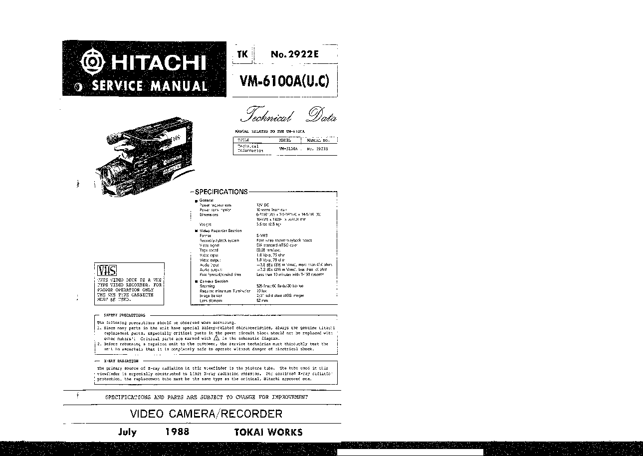 HITACHI VM-6100A SM TECHNICAL-DATA Service Manual download