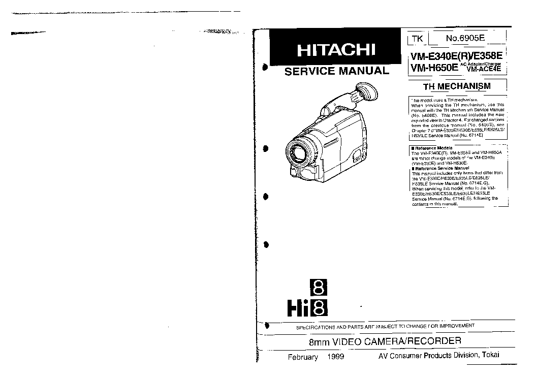 HITACHI VM-H650A Service Manual download, schematics