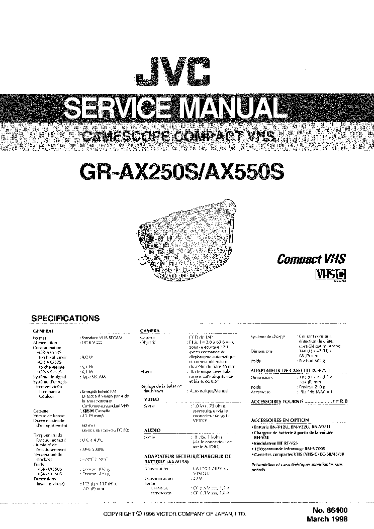 JVC GR-AX250S AX550S SM Service Manual download
