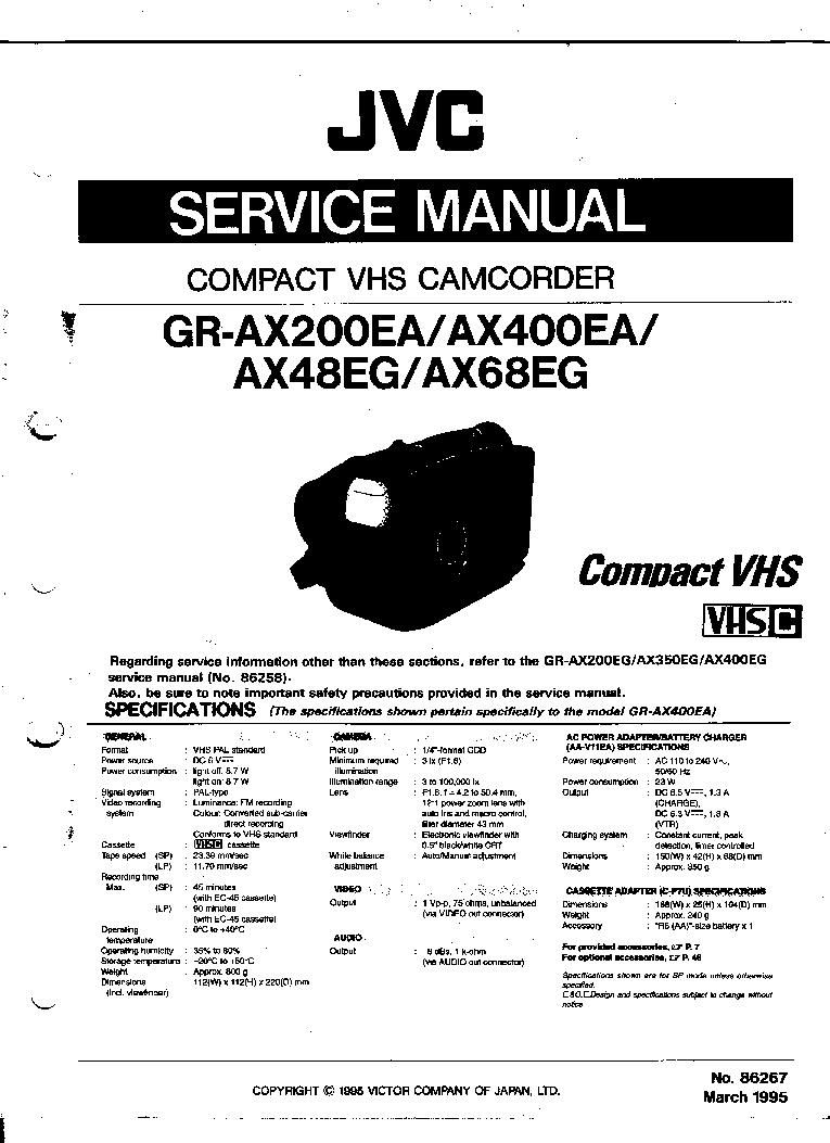 JVC GR-AX48EG AX68EG AX200EA AX400EA SM Service Manual