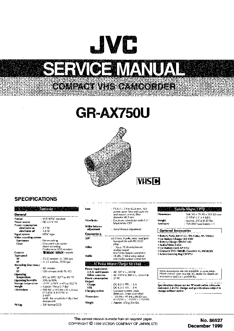 JVC GR-AX750U SM Service Manual download, schematics