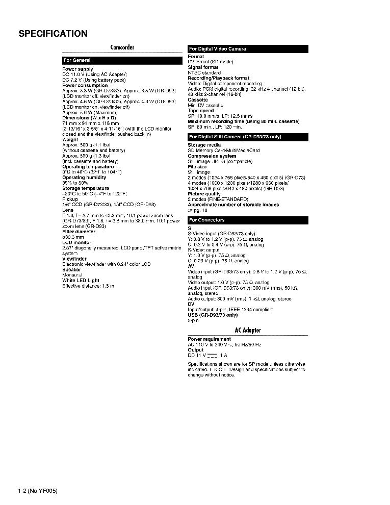 JVC GR-D33US GR-D73US SM Service Manual download