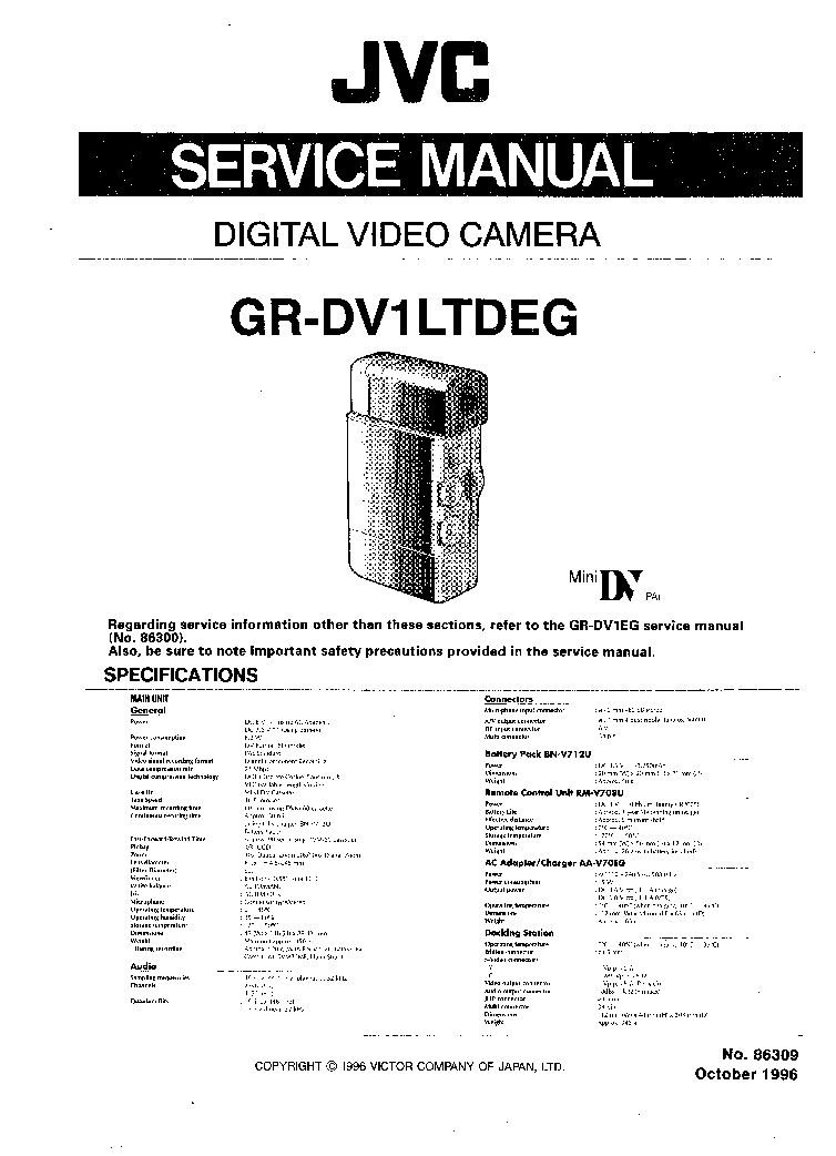 JVC GR-DV1LTDEG SM Service Manual download, schematics