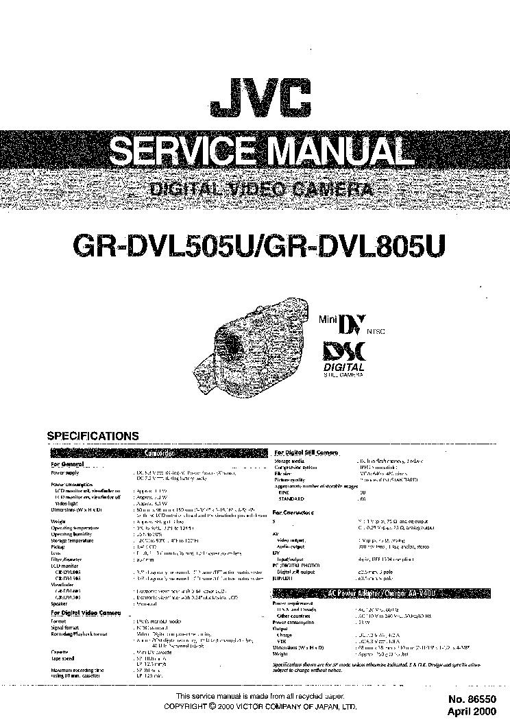JVC GR-FX15E SM Service Manual download, schematics