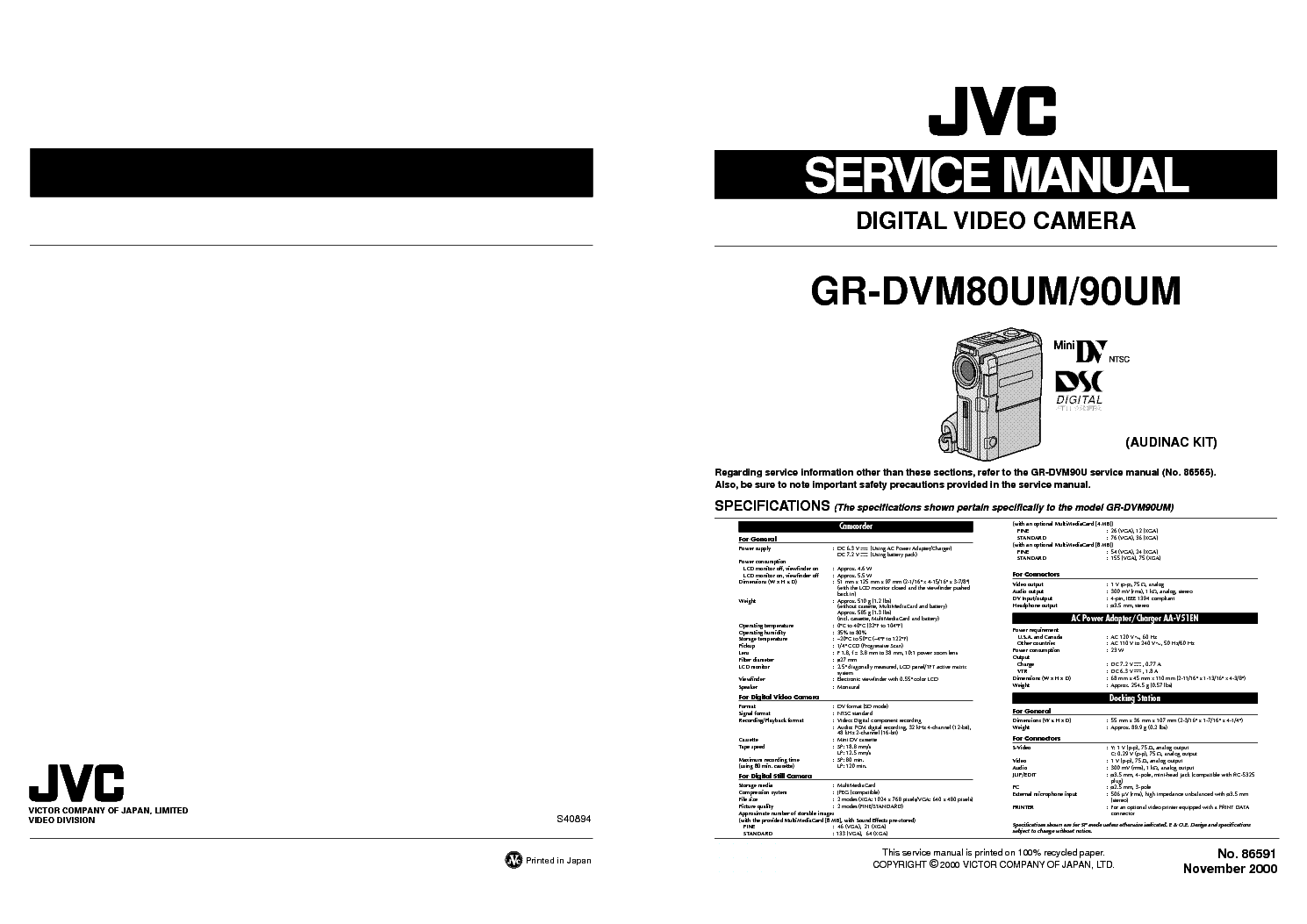 JVC GR-DVM80UM DVM90UM SM Service Manual download